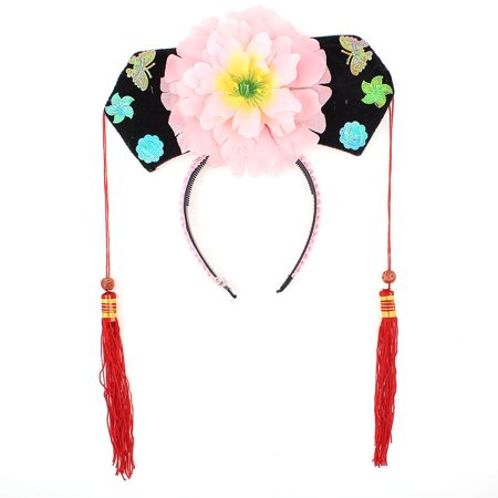 Unique Bargains Pink Red Floral Decor Oriental Chinese Princess Hairband Hat Headdress - Chinese Hats
