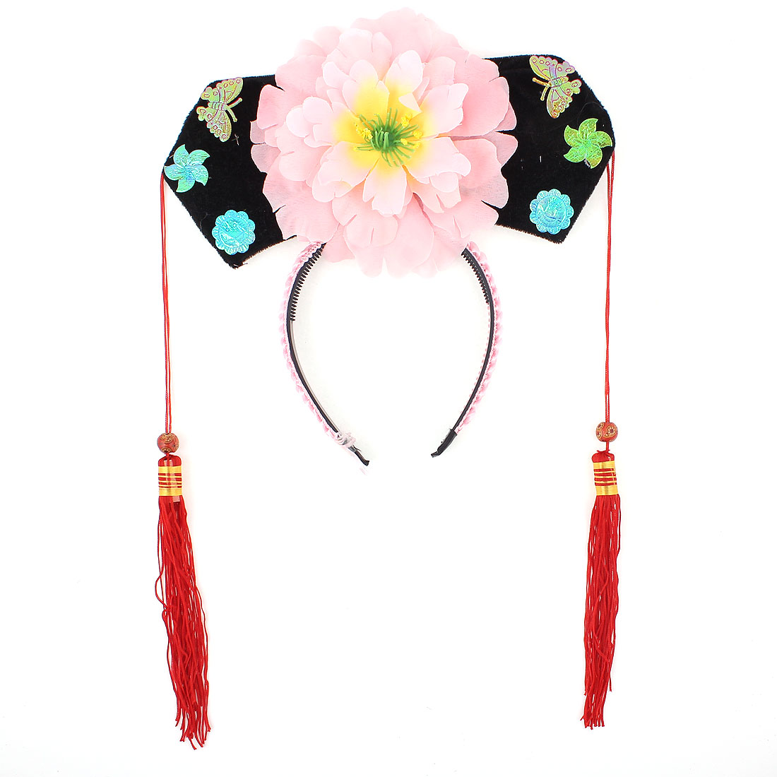 Unique Bargains Pink Red Floral Decor Oriental Chinese Princess Hairband Hat Headdress Headband