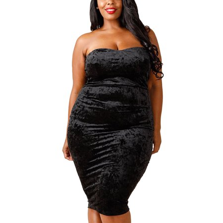 d424506ff11 Womens Plus Size Off Shoulder Velvet Tube Bodycon Party Dress ...