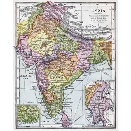 India Circa 1930 Before Partition From Bacons Excelsior Atlas Of The World Published Circa 1930 Stretched Canvas - Ken Welsh  Design Pics (26 x 32) ()