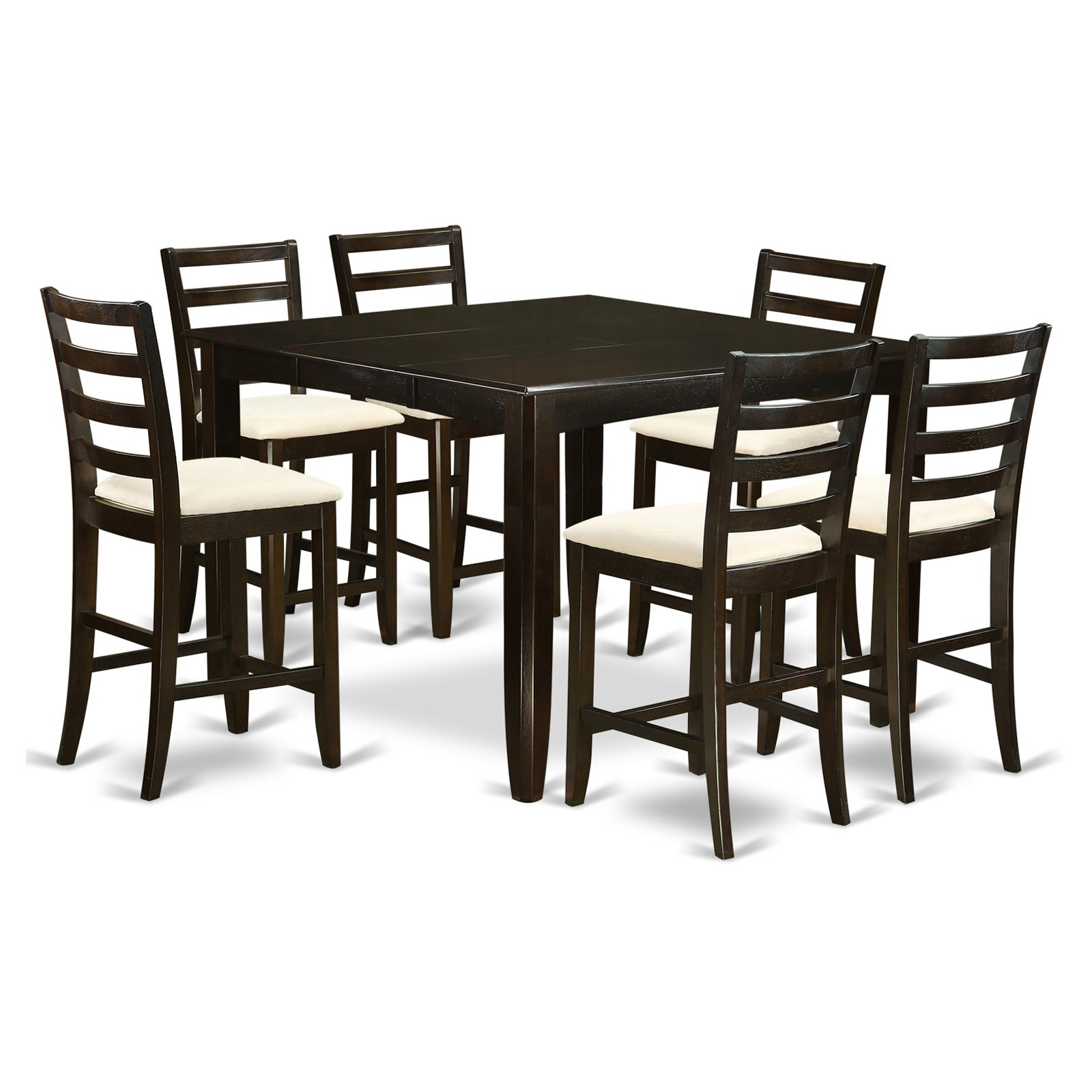 East West Furniture Fairwinds 7 Piece Ladder Back Dining Table Set