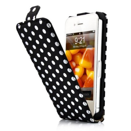 HM Black and White Polka Dot Pattern Magnet Flip Hard Leather Case For Apple iPhone 4S / 4 (AT&T, Verizon, Sprint), Brand new polka dot pattern magnet flip leather hard.., By Generic,USA