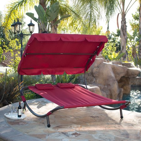 Belleze Swimming Pool Double Hammock Bed Sun Lounger Chaise Lounge Patio Outdoor, Burgundy ()