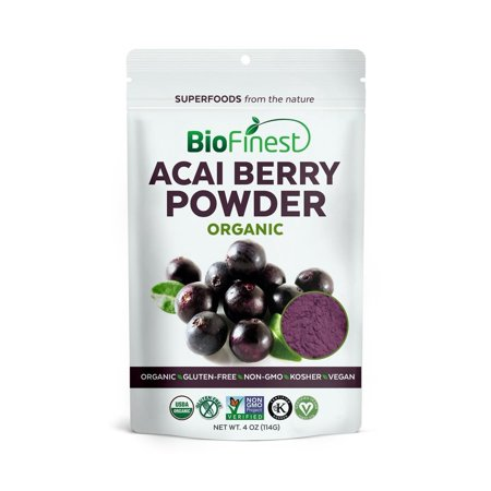 Biofinest Acai Berry Juice Powder - 100% Pure Freeze-Dried Antioxidant Superfood - USDA Certified Organic Kosher Vegan Raw Non-GMO - Boost Digestion Weight Loss - For Smoothie Beverage Blend (4