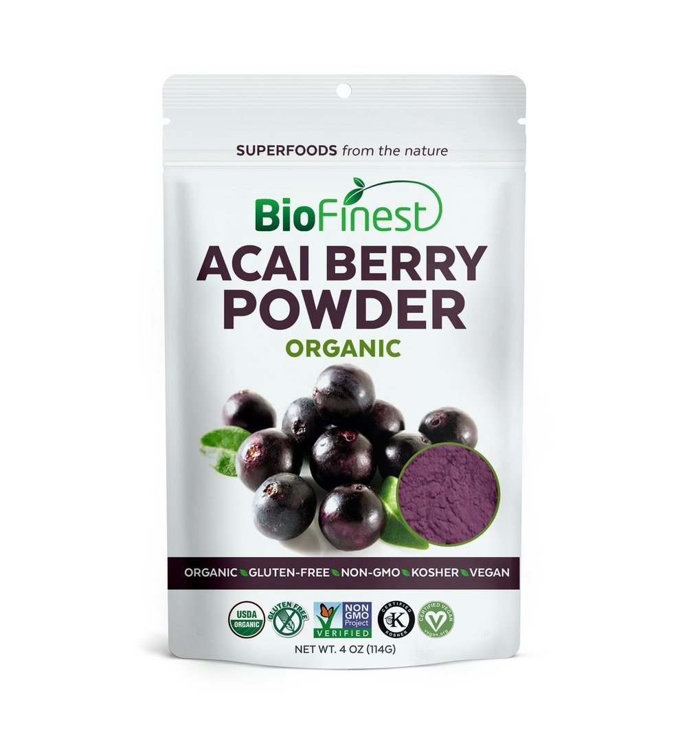 Biofinest Acai Berry Juice Powder - 100% Pure Freeze-Dried Antioxidant Superfood - USDA Certified Organic Kosher Vegan Raw Non-GMO - Boost Digestion Weight Loss - For Smoothie Beverage Blend (4 oz)