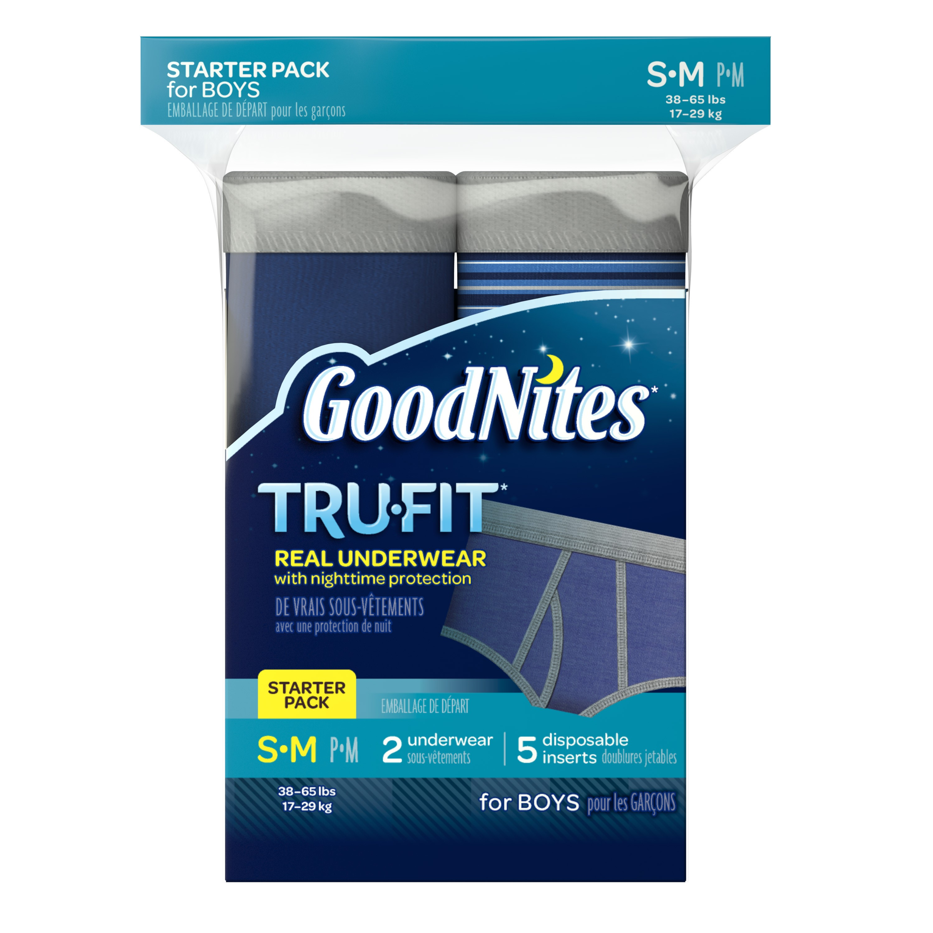 Goodnites Tru-Fit Bedwetting Underwear for Boys, Starter Pack, Size S/M, 2 Pants +5 Inserts
