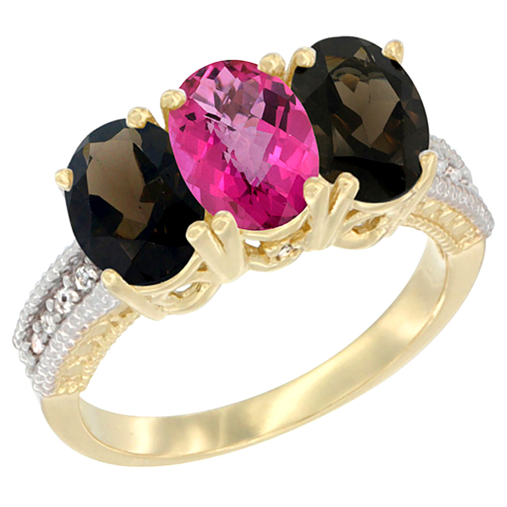 10K Yellow Gold Diamond Natural Pink Topaz & Smoky Topaz Ring 3-Stone 7x5 mm Oval, sizes 5 10 by WorldJewels