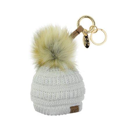ecd99b6be NYFASHION101® Pom Pom Beanie Key Chain Key Ring Handbag Tote Accessory -  Ivory/Silver