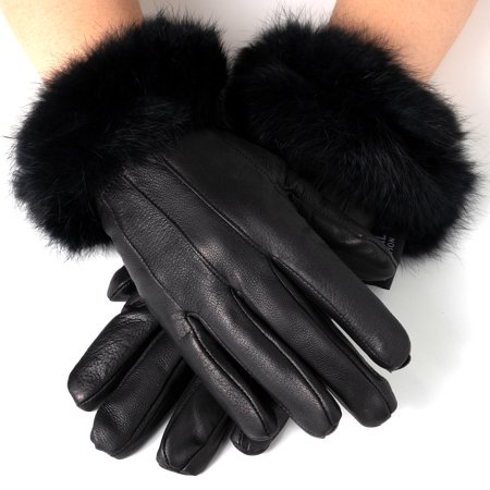 (Alpine Swiss Women's Dressy Gloves Genuine Leather Thermal Lining Fur Trim Cuff)