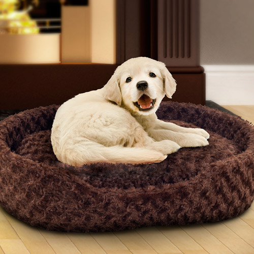 PETMAKER Cuddle Round Plush Pet Bed, Small, Brown