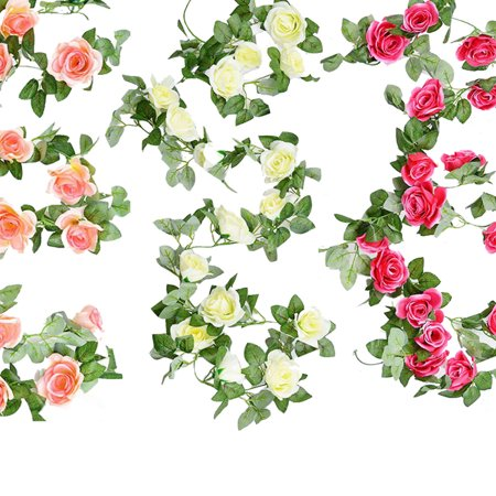 7.5 FT Fake Rose Vine Flowers Plants Artificial Flower Hanging Rose Ivy Home Hotel Office Wedding Party Garden Craft Art Decor Rose - No Thanks Halloween Vine