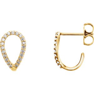 Jewels By Lux Set 14K Yellow Gold Pair Polished 1/5 CTW Diamond Geometric Earring With Backs