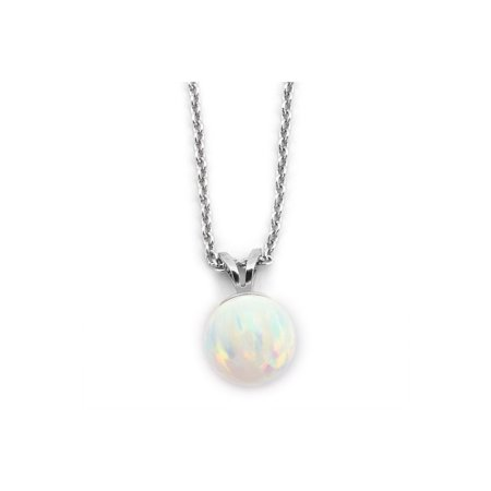 Solid Sterling Silver Rhodium Plated 5mm White Simulated Opal Pendant Necklace, 16