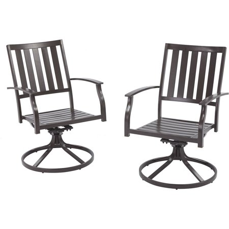Better Homes And Gardens Camrose Farmhouse Outdoor Mix Match Slat Back Swivel Chairs Set Of 2