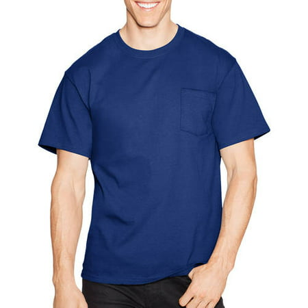 - Hanes Men's tagless crew neck short sleeve pocket tshirt