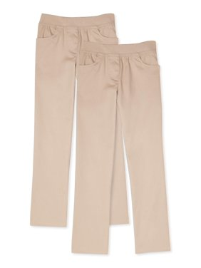 Wonder Nation Girls School Uniform Pull-On Pants, 2-Pack Value Bundle, Sizes 4-16