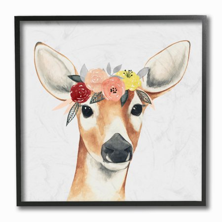 The Stupell Home Decor Collection Doe Eyed Deer in Flower Crown Framed Giclee Texturized Art, 12 x 1.5 x - Crown Frame