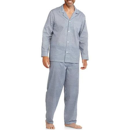 Big And Tall Plaid Robe - Big Men's Long Sleeve Long Pant Print Pajama