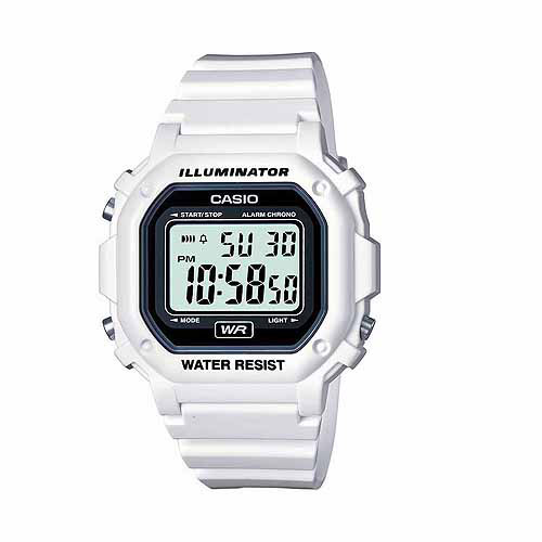 Casio Unisex Digital Watch, White Glossy Resin Strap