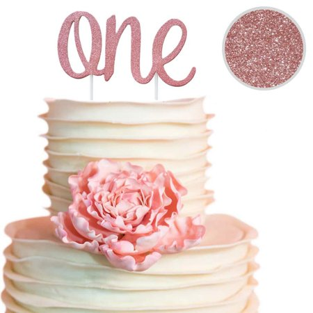 1st Bday Decorations (ONE Rose Gold Cake Topper for Daughters 1st Birthday Decorations for Girls! Make her day and cake special with a double sided rose gold cake topper on her bday! Princess)