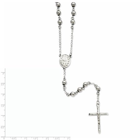 Stainless Steel 6mm Bead Rosary Necklace 29.5 Inch - image 2 de 3