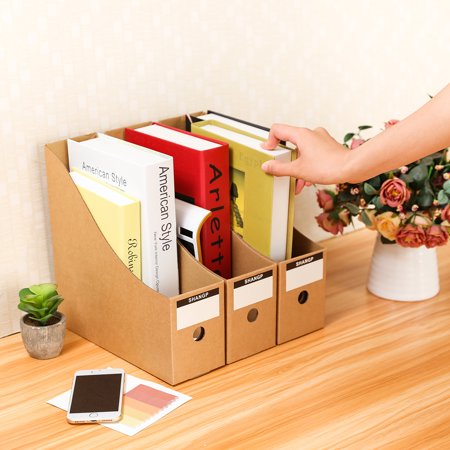 5Pcs/Set Kraft Paper File Organizer Holder Office Supplies Magazine Stationery Pencil Cosmetic Phone Desk Storage Organizer