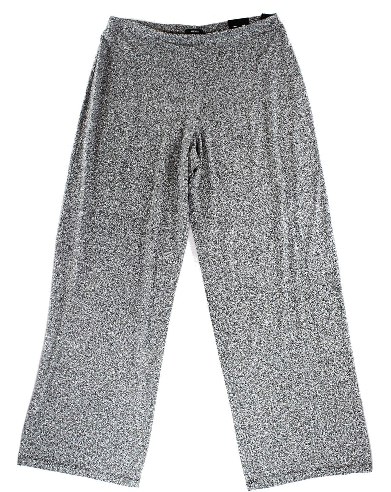 Alfani NEW Black White Womens Size 2X Plus Noise Pull-n Wide-Leg Pants