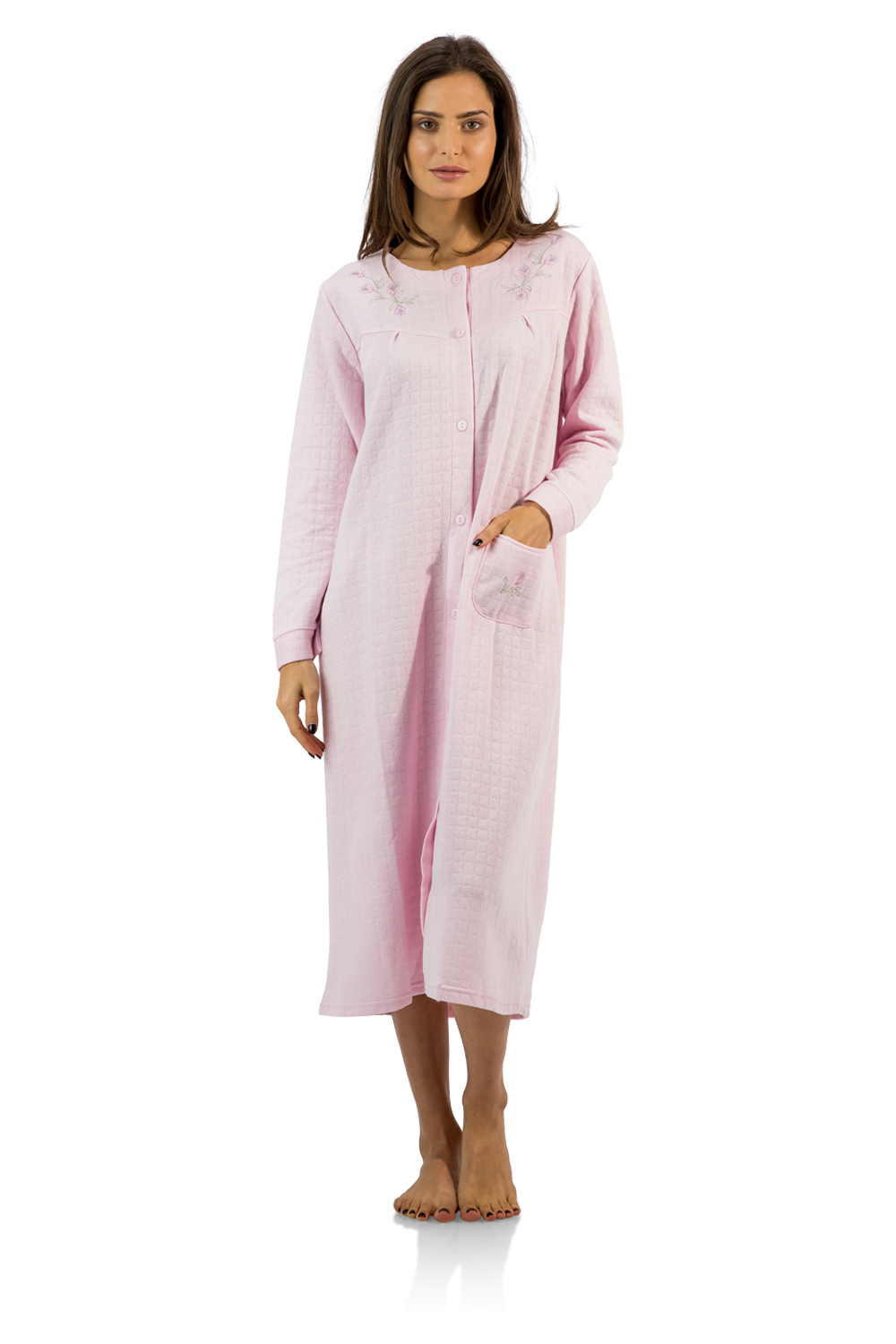 Casual Nights Women's Long Quilted Robe House Dress - Pink - X-Large
