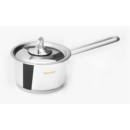 Hascevher Classic 18/10 Stainless Steel Sauce Pot Covered Cookware Induction Compatible Oven Safe 3 Quart