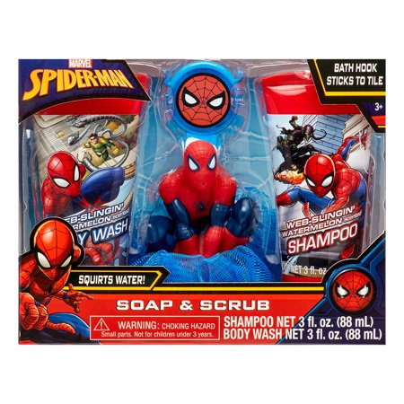 Marvel Spider-Man 4-Piece Soap and Scrub Body Wash and Shampoo Set