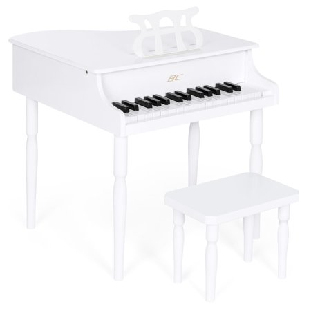 Best Choice Products Kids Classic Wooden 30 Key Miniature Mini Baby Grand Piano Toy w/ Bench and Sheet Music Rack Rest Holder Stand - White - Halloween Piano Sheet Music For Kids