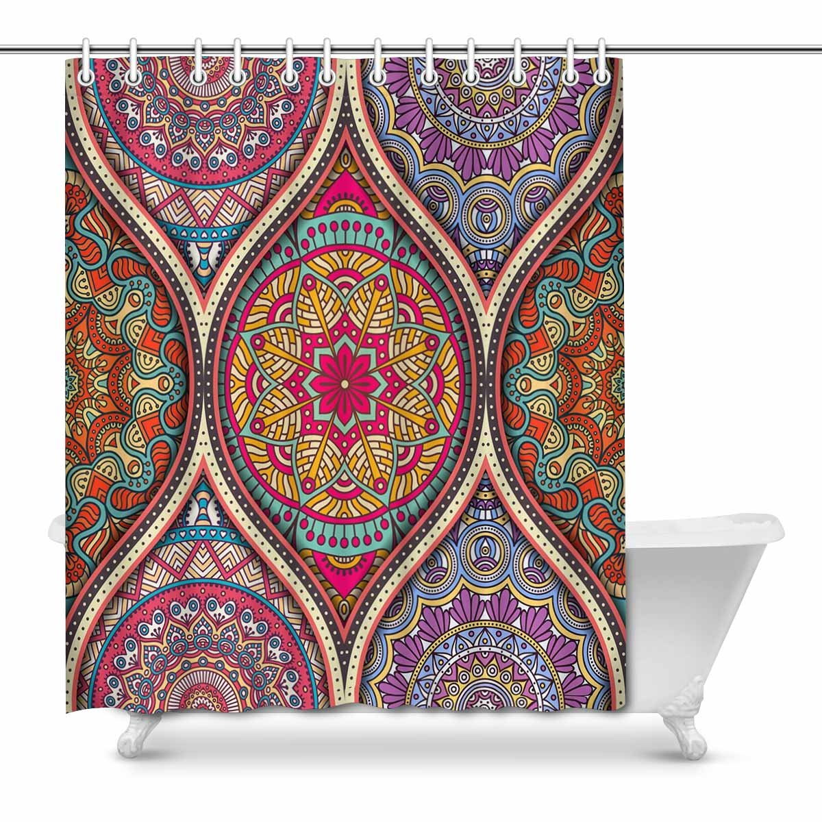 Pop Pattern Tile With Mandalas Country For Bathroom Shower Curtain 66x72 Inch