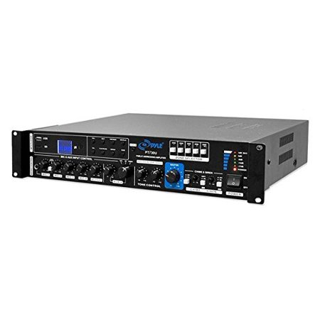 Multi-Channel Home Audio Power Amplifier - Mixer w/ 70V 100V Output - 375 Watt Rack Mount Stereo Receiver w/ 3.5mm AUX USB, Mic Talkover for PA System, Commercial Entertainment Use - Pyle PT730U ()