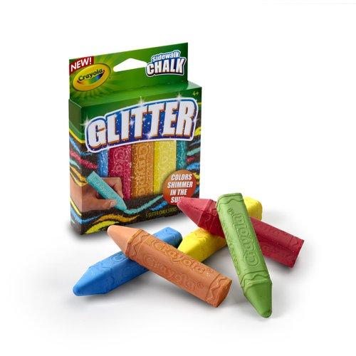 Crayola Special FX Glitter Washalble Sidewalk Chalk, 5 count