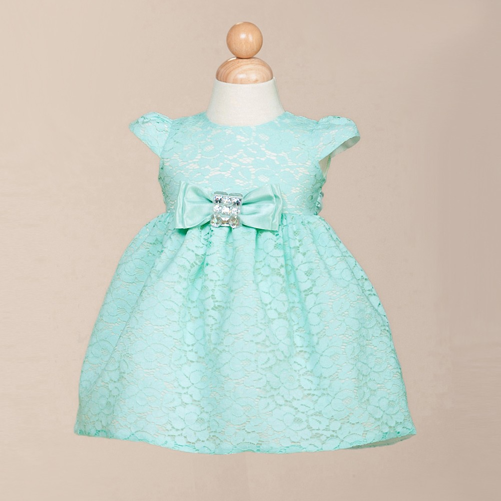 Crayon Kids Little Girls Turquoise Floral Lace Flower Girl Dress 12M ...