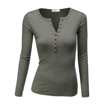 322e94c7 Doublju - Doublju Women's Womens Henley Shirts Round Neck Long ...