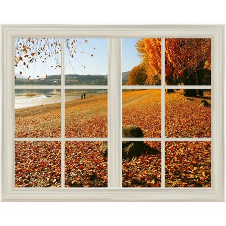 Yellow Fallen Leaves in Autumn Window View Mural Wall Sticker -
