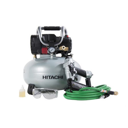 Hitachi KNT50AB 18 Gauge Brad Nailer and Pancake Compressor Finish Combo (Porter Cable Nail Gun And Compressor Kit)