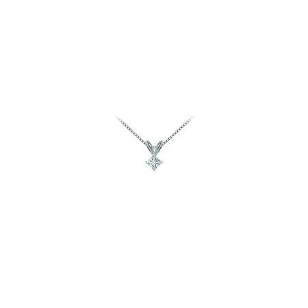 Platinum Princess Cut Diamond Solitaire Pendant 0.15 CT. TW. - image 2 de 2