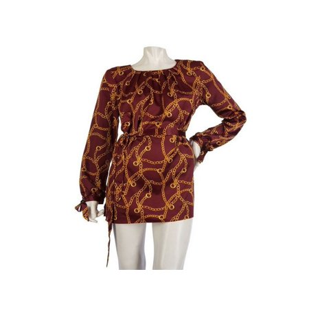 Charmeuse Silk Belt - Dennis Basso Printed Charmeuse Tunic Self Belt Bordeaux, X-Small