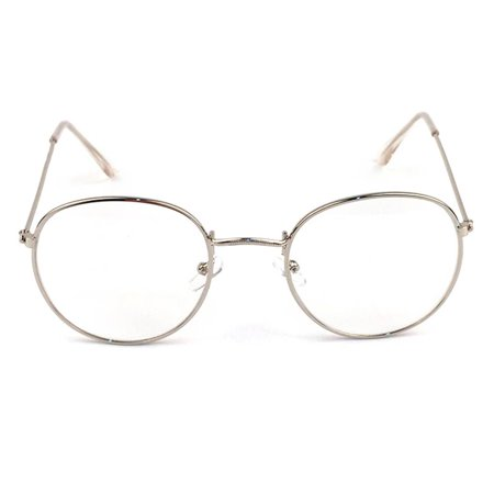 Metal Printing Round Large Frame Glasses Unisex Decorative Spectacles Lightweight Clear Lens Retro (Large Spectacles)