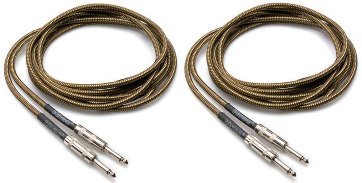 2 Hosa GTR-518 18 Foot Straight Tweed Guitar   Instrument Cables by Hosa