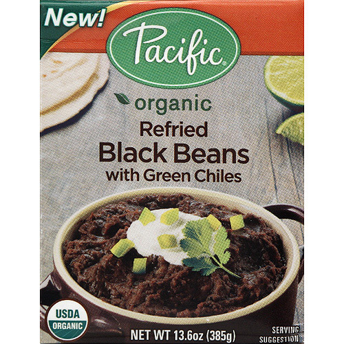 Pacific Organic Refried Black Beans with Green Chiles, 13.6 oz, (Pack of 12)