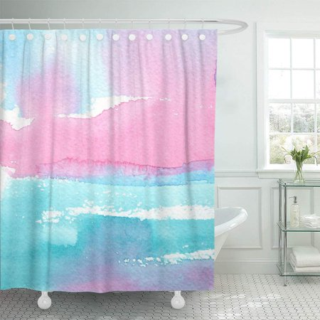 KSADK Aquarelle Hand Abstract Watercolor with Artistic Wash in Pink and Turquoise Blue Blot Brush Shower Curtain Bathroom Curtain 66x72 inch (Turquoise And Pink Shower Curtain)