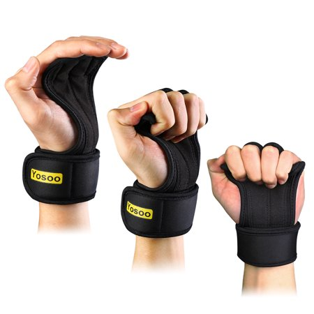 Gymnastics Grip Palm Protectors with Wrist Support Strap for Workout Cross Training Weight Lifting, Suits Men and Women - Pull Up Gloves with Padding to Avoid Calluses