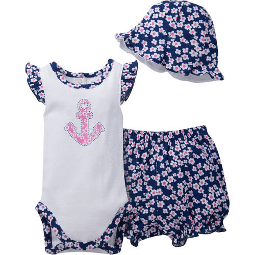 Gerber Newborn Baby Girl 3-Piece Bodysuit, Bloomer, and Hat Outfit Set