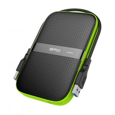 5TB Silicon Power Armor A60 Shockproof Portable Hard Drive - USB3.0 - Black/Green Edition