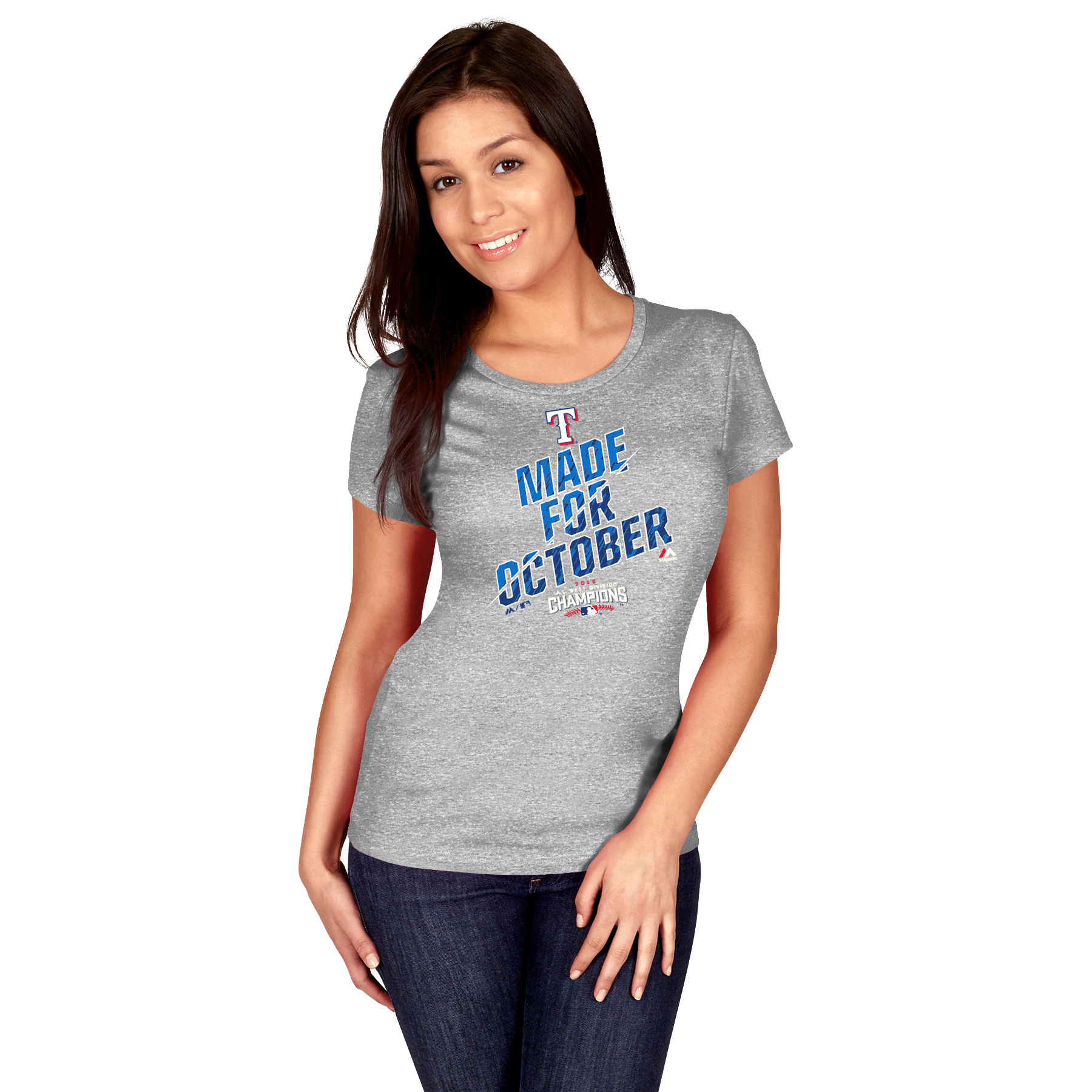 Texas Rangers Majestic Women's 2016 AL West Division Champions Made for October Locker Room T-Shirt - Heathered Gray
