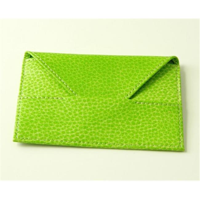 Budd Leather 290316-39 Pebble Grained Leather Business Card Envelope - Lime