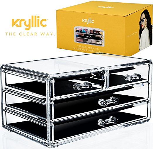 Acrylic Cosmetic Jewelry Makeup Organizer 4 Drawers Plastic Vanity Countertop Display Case Storage Make Up Brush Nail Polish Lipstick Products Accessories